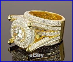 Men's Sterling Silver 925 Solitaire Ring Band 14k Gold Finish & Cubic Zirconia