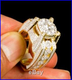 Men's Sterling Silver Flower Ring Band in 14k Gold Finish with Cubic Zirconia