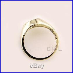 Mens 14k Yellow Gold Over Silver. 02ct Cubic Zirconia Round Signet Ring One Star