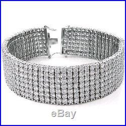 Mens 925 Sterling Silver Cubic Zirconia 7 Lines 8 Bracelet
