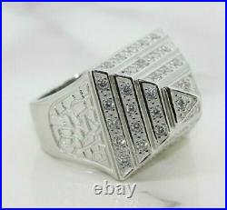 Mens Heavy 925 Sterling Silver Cubic Zirconia Set Pyramid Ring