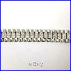Mens Silver Bracelet Watch Strap style NEW Cubic Zirconia 22.1g 925 Sterling