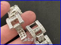 Mens Sterling Silver Cubic Zirconia Bracelet 8.75 inch