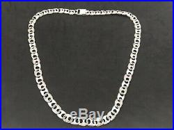 Mens Sterling Silver Cubic Zirconia Chain. RARE. 90 grams, 26 inch