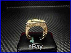 Mens Yellow Color C. Z Ring Sterling Silver Cubic Zirconia Round Cut Pave 925