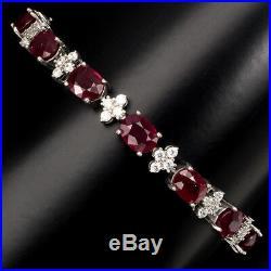 Mesmerizing Oval Cut 8x6 Mm Blood Red Ruby Cubic Zirconia 925 Silver Bracelet