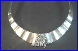 Mexican Taxco Sterling Silver Choker Necklace Cubic Zirconia
