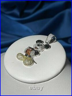 Mickey Mouse 925 Sterling Silver Pendant Cubic Zirconia Stones Iced Out White