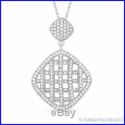 Micro-Pave Cubic Zirconia CZ Crystal Rhodium Plated. 925 Sterling Silver Pendant