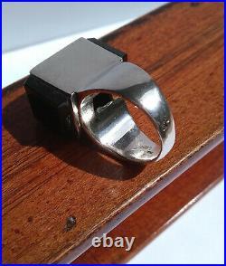 Mid Century Modern 1960's Joachim S'Paliu Cubic Onyx Sterling Silver Ring Sz 6.5