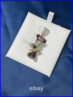 Minnie Mouse 925 Sterling Silver Pendant Cubic Zirconia Stones Iced Out Rose