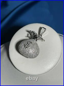 Money Bag Style 925 Sterling Silver Pendant Cubic Zirconia Stones Iced Out White