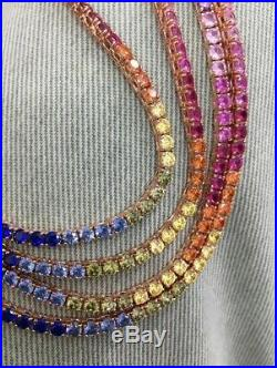 Multicolor Tennis Necklace Cubic Zirconia Gemstone 14K Rose Gold Plated