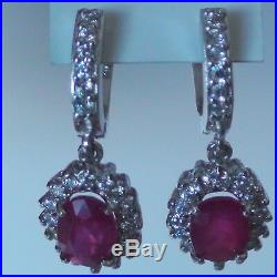 NATURAL RUBY, CUBIC ZIRCON EARRINGS 925 STERLING SILVER, Estate Jewelry