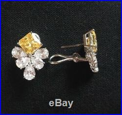 NEW Fantasia by DeSerio Sterling Silver White & Canary Cubic Zirconia Earrings