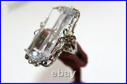NEW QVC 44CTW Cubic Zirconia Crystal Sterling Renaissance Style Ring FRG