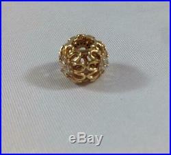NWOT Pandora Floral Brilliance Charm 14K Gold Cubic Zirconia CZ 750836CZ