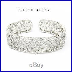 NYJEWEL Brand New Judith Ripka 925 Sterling Silver Cubic Zirconia Cuff Bracelet
