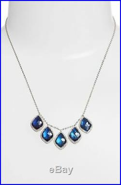 Nadri Double Frontal Blue Topaz and Cubic Zirconia Silver Necklace 143993