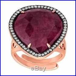 Natural Ruby & Cubic Zirconia Ring in 18K Rose Gold-Plated Sterling Silver