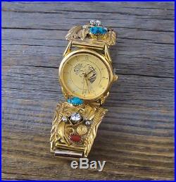 Navajo Men's 12KGF Silver Cubic Zirconia Coral Turquoise Watch Tips