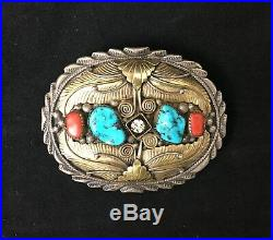 Navajo Sterling Silver Belt Buckle withTurquoise, Red Coral & Cubic Zirconia EUC
