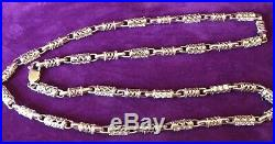 New 925 Hallmarked Sterling Silver 65 Grams 28 Inch Cubic Zirconia Chain