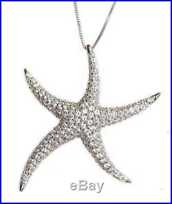 New. 925 Sterling Silver Cubic Zirconia Starfish Pendant Necklace