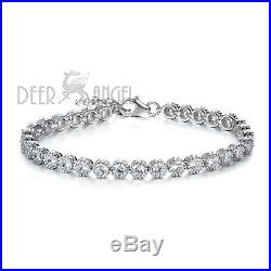 New 925 Sterling Silver Round White Cubic Zirconia Bezel Women Tennis Bracelet