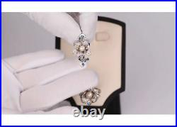 New 925 sterling silver earrings Flower, with cubic zirkonia and pearl