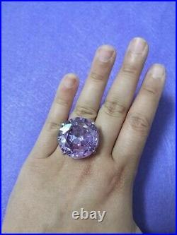New Artisan Designer Heavy 28.65g 925 Silver Purple Cubic Zircon Ring Size 7.5
