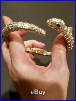 New Cubic Zirconia 18k Gold Over Sterling Silver Snake Serpent Bracelet cote d'a