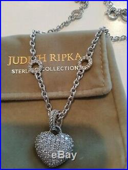 New Judith Ripka Sterling Cubic Zirconia Chain Necklace with CZ Heart Enhancer