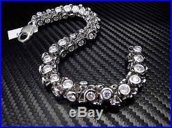 New Mens Sterling Silver 360 Bracelet C. Z Cubic Zirconia Round Cut Bezel Setting