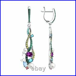 New SOKOLOV Earrings in 925 silver with enamel and pearls and cubic zirkonia