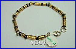 New Silver And 14ct Rolled Gold And Cubic Zirconia Bracelet. (b81)