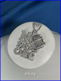 No Days Off Style White Finish 925 Sterling Silver Pendant Cubic Zirconia Stones