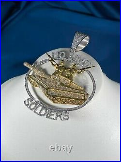 No Limit SoldierS 925 Sterling Silver Pendant Cubic Zirconia Stones Iced Out