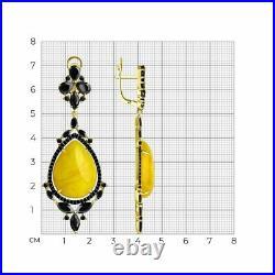 Novelty SOKOLOV 925 gilded silver earrings with cubic zirkonia long