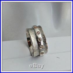 OOAK Meditation sterling silver spinner ring fidget ring Cubic Zirconia