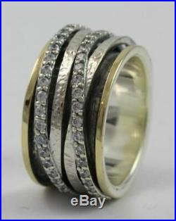 OR PAZ. 925 Sterling Silver & 14K Cubic Zirconia Spinner Ring, Size 7, Israel