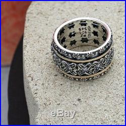 Or Paz. 925 Silver & 14K Gold Cubic Zirconia Spinner Ring, Made in Israel