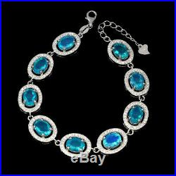 Oval Blue Fire Opal 8x6mm Cubic Zirconia 925 Sterling Silver Bracelet 8 Inches