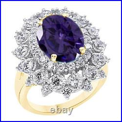 Oval Cut Alexandrite & Cubic Zirconia Halo Engagement Ring 14K Yellow Gold Over