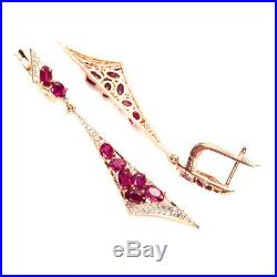 Oval Red Ruby 5x3mm Cubic Zirconia Rose Gold Plate 925 Sterling Silver Earrings