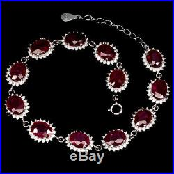 Oval Red Ruby 8x6mm White Cubic Zirconia 925 Sterling Silver Bracelet 8.5inches