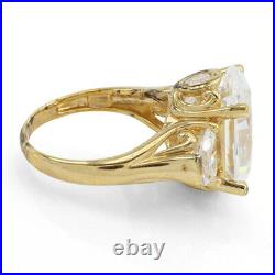 Oval Shape Cubic Zirconia 14K Yellow Gold Over Thrre Stone Ring Size 7