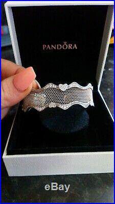 PANDORA'Lace Of Love' 925 sterling silver and Cubic Zirconia cuff bangle