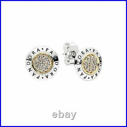 PANDORA Stud Earrings in Sterling Silver 14k Gold Clear Cubic Zirconia 296230CZ