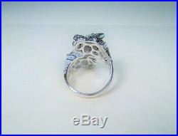 PANTHER JAGUAR Black & White Cubic Zirconia RING #7 WHITE GOLD-plated 925 SILVER